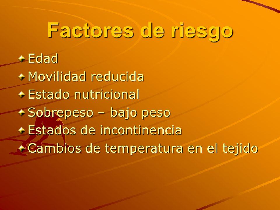 Factores de riesgo Edad Movilidad reducida Estado nutricional Sobrepeso – bajo peso Estados de incontinencia Cambios de temperatura en el tejido