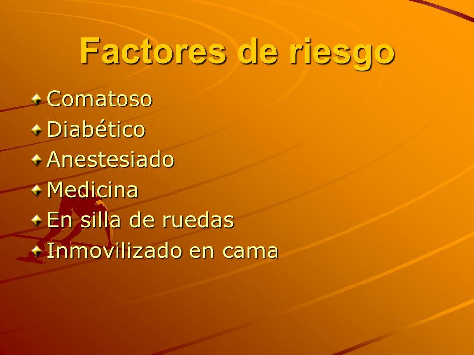 Factores de riesgo ComatosoDiabéticoAnestesiadoMedicina En silla de ruedas Inmovilizado en cama