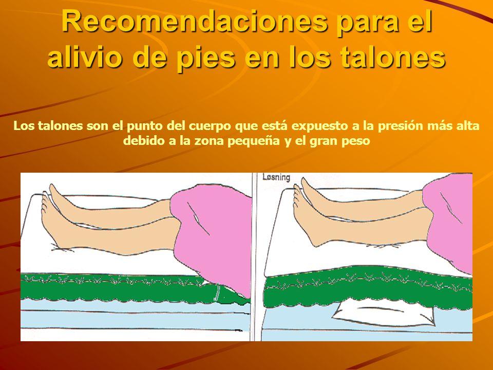 Recomendaciones para el alivio de pies en los talones Los talones son el punto del cuerpo que está expuesto a la presión más alta debido a la zona pequeña y el gran peso