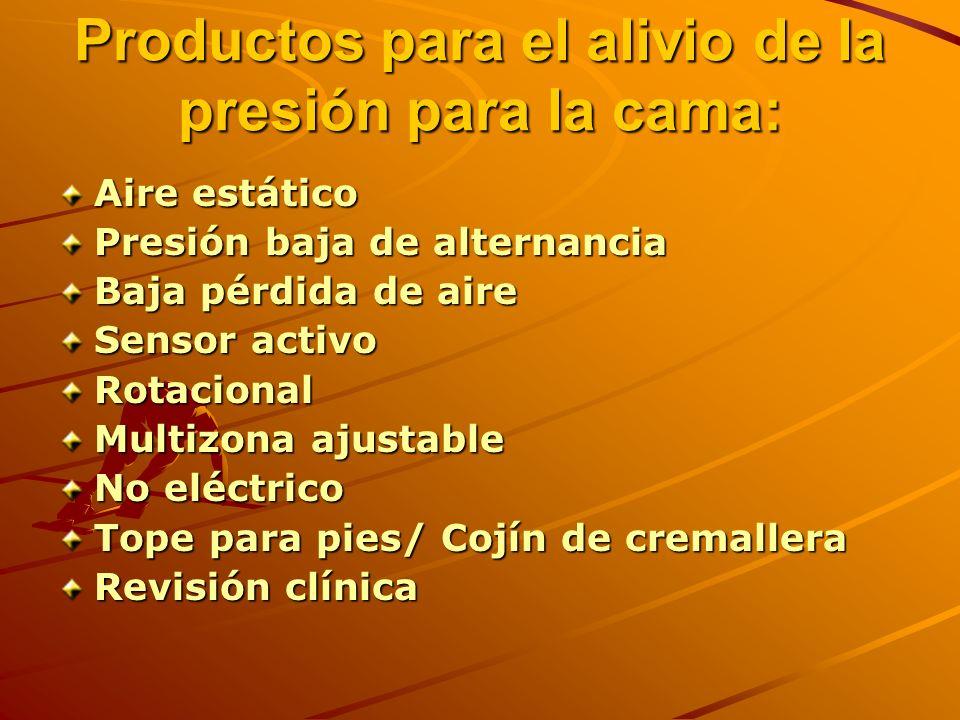 Productos para el alivio de la presión para la cama: Aire estático Presión baja de alternancia Baja pérdida de aire Sensor activo Rotacional Multizona ajustable No eléctrico Tope para pies/ Cojín de cremallera Revisión clínica