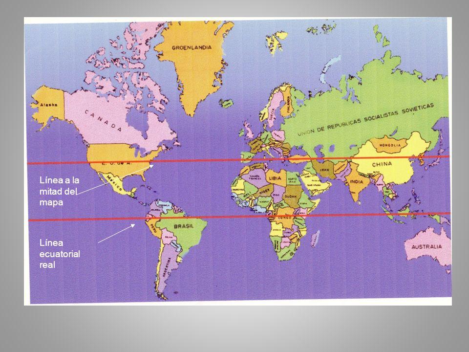 Línea a la mitad del mapa Línea ecuatorial real