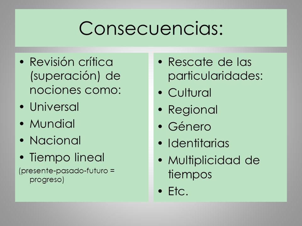 Consecuencias: Revisión crítica (superación) de nociones como: Universal Mundial Nacional Tiempo lineal (presente-pasado-futuro = progreso) Rescate de