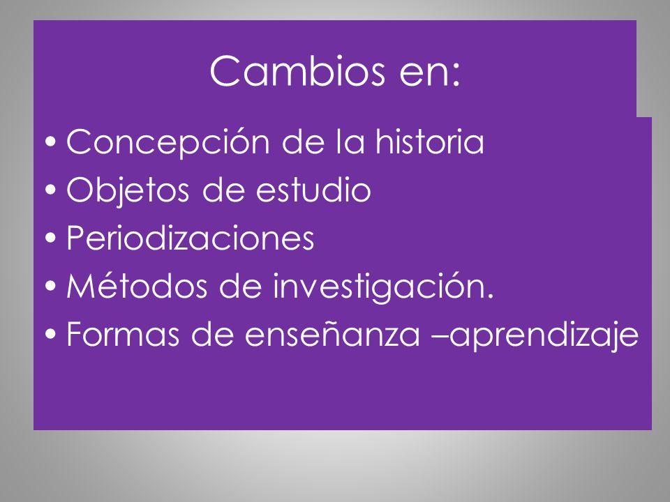 Cambios en: Concepción de la historia Objetos de estudio Periodizaciones Métodos de investigación. Formas de enseñanza –aprendizaje