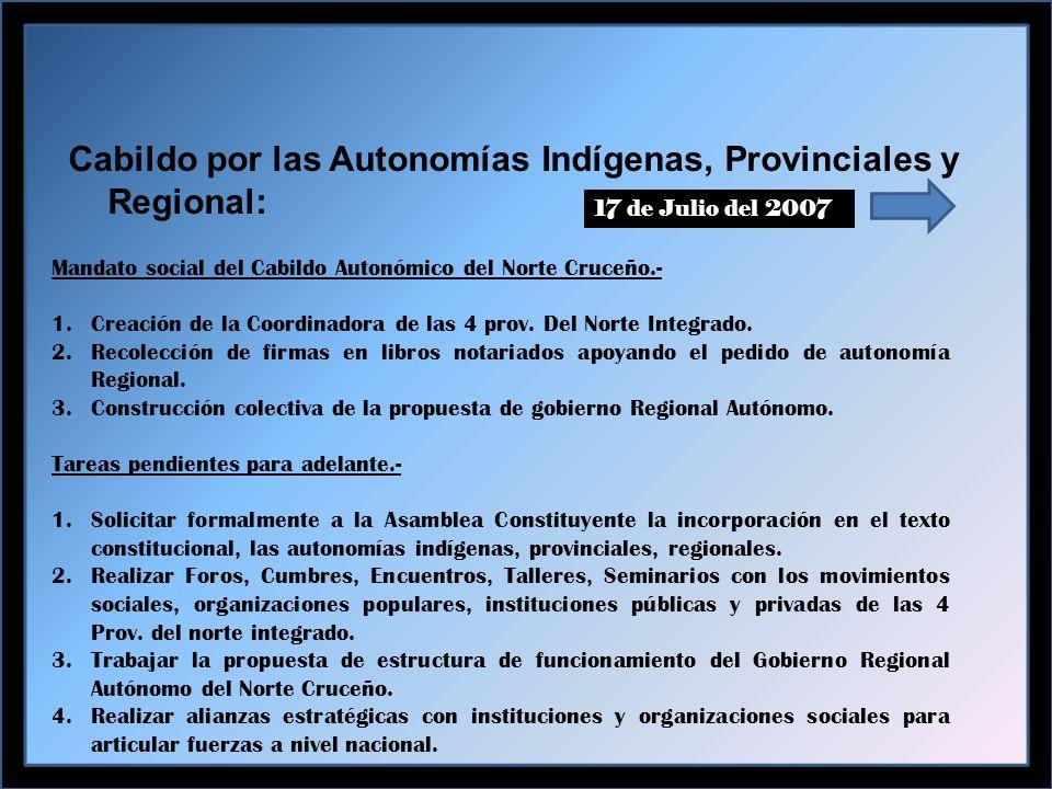 Cabildo por las Autonomías Indígenas, Provinciales y Regional: 17 de Julio del 2007 Mandato social del Cabildo Autonómico del Norte Cruceño.- 1.Creación de la Coordinadora de las 4 prov.