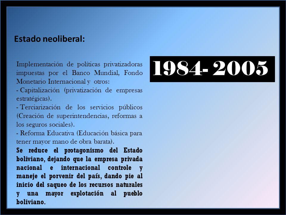 Estado neoliberal: 1984- 2005 Implementación de políticas privatizadoras impuestas por el Banco Mundial, Fondo Monetario Internacional y otros: - Capitalización (privatización de empresas estratégicas).