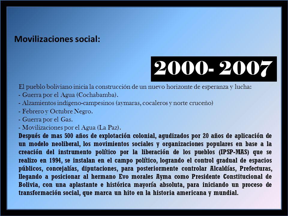 Movilizaciones social: 2000- 2007 El pueblo boliviano inicia la construcción de un nuevo horizonte de esperanza y lucha: - Guerra por el Agua (Cochabamba).
