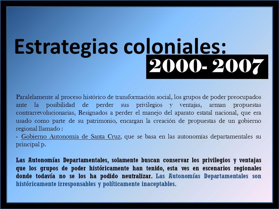 I.- AUTONOMIAS DEPARTAMENTALES: propuestas colonizantes Control territorial: para seguir saqueando los recursos naturales y controlar políticamente al pueblo cruceño…