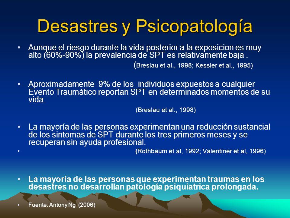 Desastres y Psicopatología Aunque el riesgo durante la vida posterior a la exposicion es muy alto (60%-90%) la prevalencia de SPT es relativamente baj