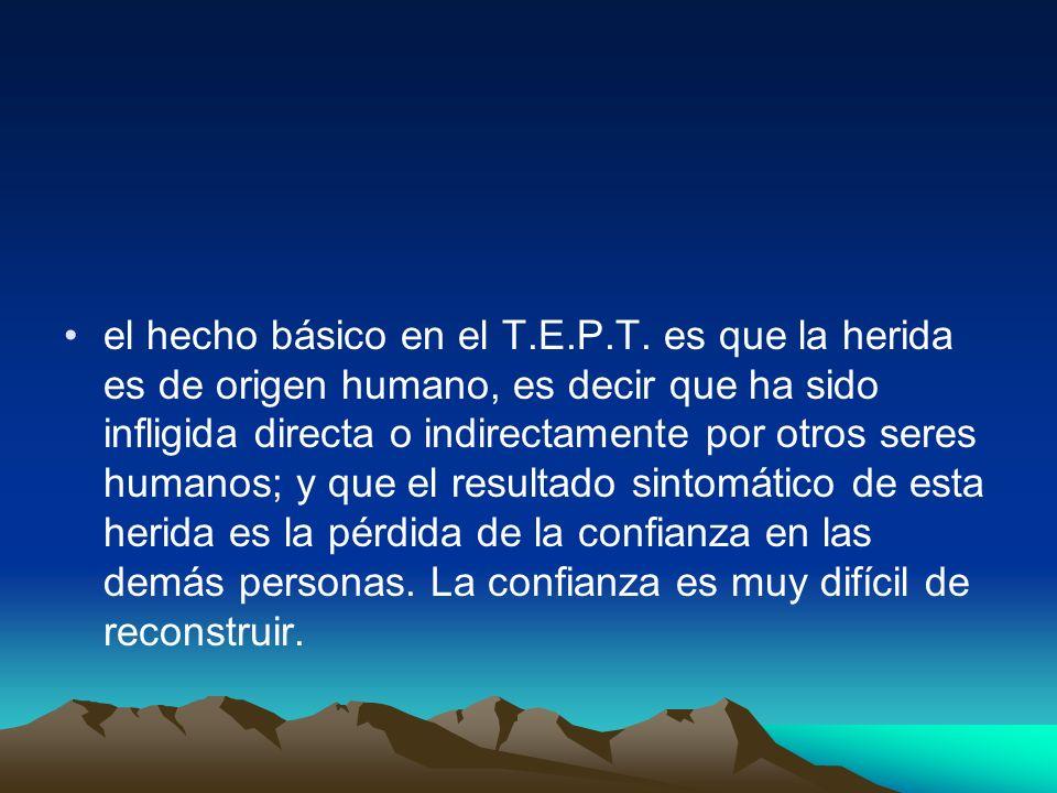 el hecho básico en el T.E.P.T. es que la herida es de origen humano, es decir que ha sido infligida directa o indirectamente por otros seres humanos;