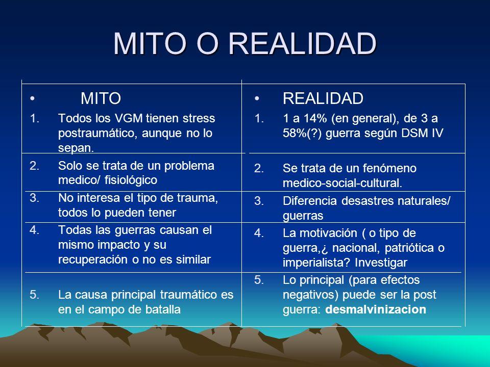 MITO O REALIDAD MITO 1.Todos los VGM tienen stress postraumático, aunque no lo sepan. 2.Solo se trata de un problema medico/ fisiológico 3.No interesa