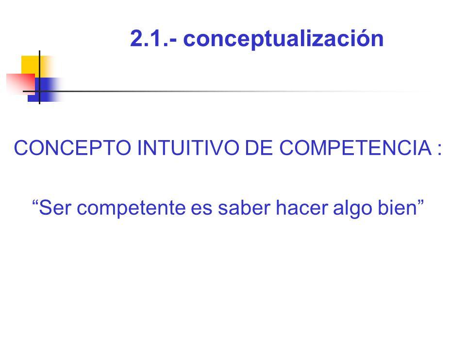2.1.- conceptualización CONCEPTO INTUITIVO DE COMPETENCIA : Ser competente es saber hacer algo bien