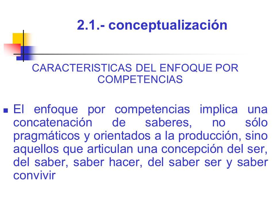 2.1.- conceptualización CARACTERISTICAS DEL ENFOQUE POR COMPETENCIAS El enfoque por competencias implica una concatenación de saberes, no sólo pragmát