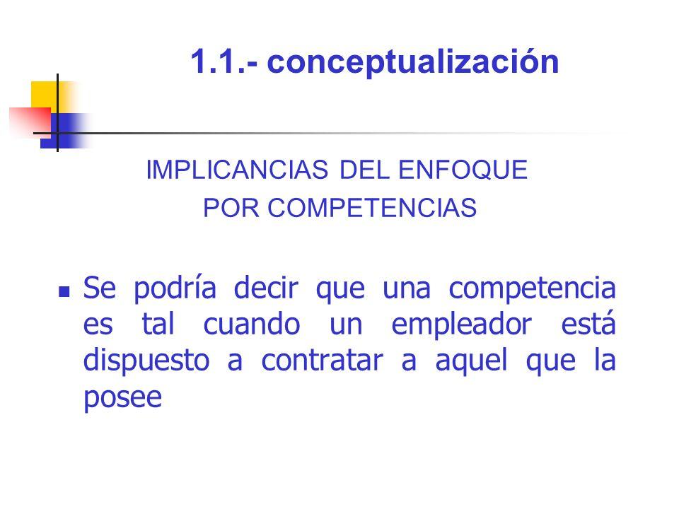 1.1.- conceptualización IMPLICANCIAS DEL ENFOQUE POR COMPETENCIAS Se podría decir que una competencia es tal cuando un empleador está dispuesto a cont