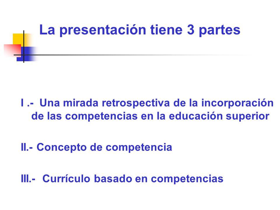 La presentación tiene 3 partes I.- Una mirada retrospectiva de la incorporación de las competencias en la educación superior II.- Concepto de competen