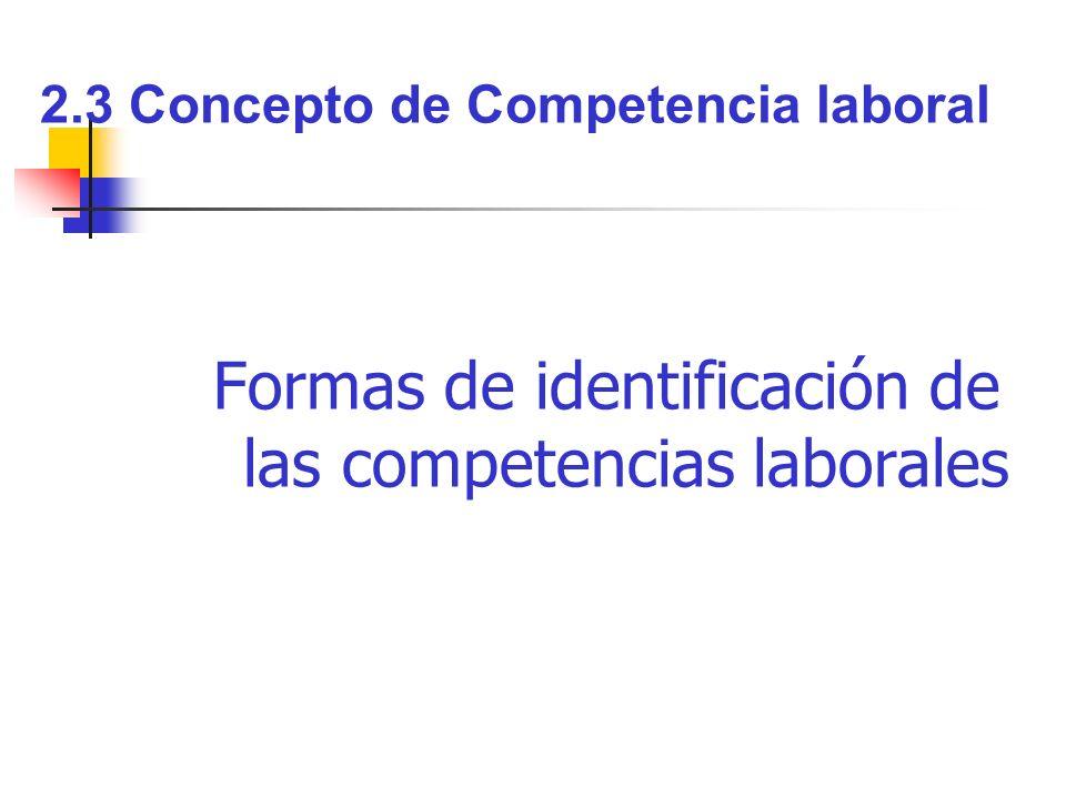 Formas de identificación de las competencias laborales 2.3 Concepto de Competencia laboral