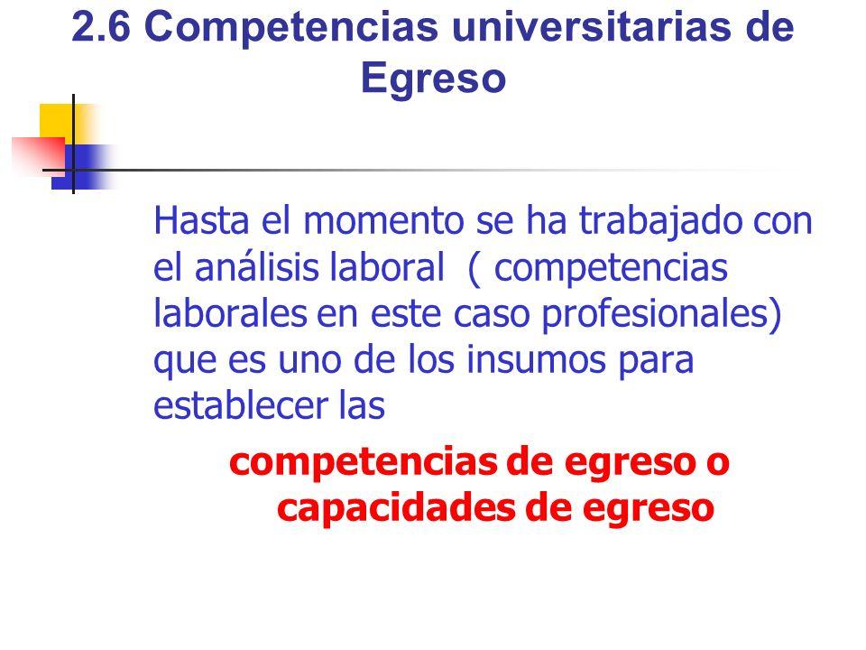 2.6 Competencias universitarias de Egreso Hasta el momento se ha trabajado con el análisis laboral ( competencias laborales en este caso profesionales