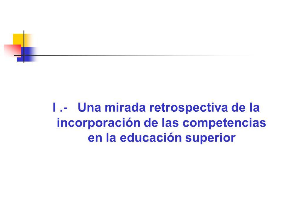 I.- Una mirada retrospectiva de la incorporación de las competencias en la educación superior