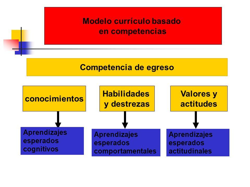 Competencia de egreso conocimientos Habilidades y destrezas Valores y actitudes Modelo currículo basado en competencias Aprendizajes esperados cogniti