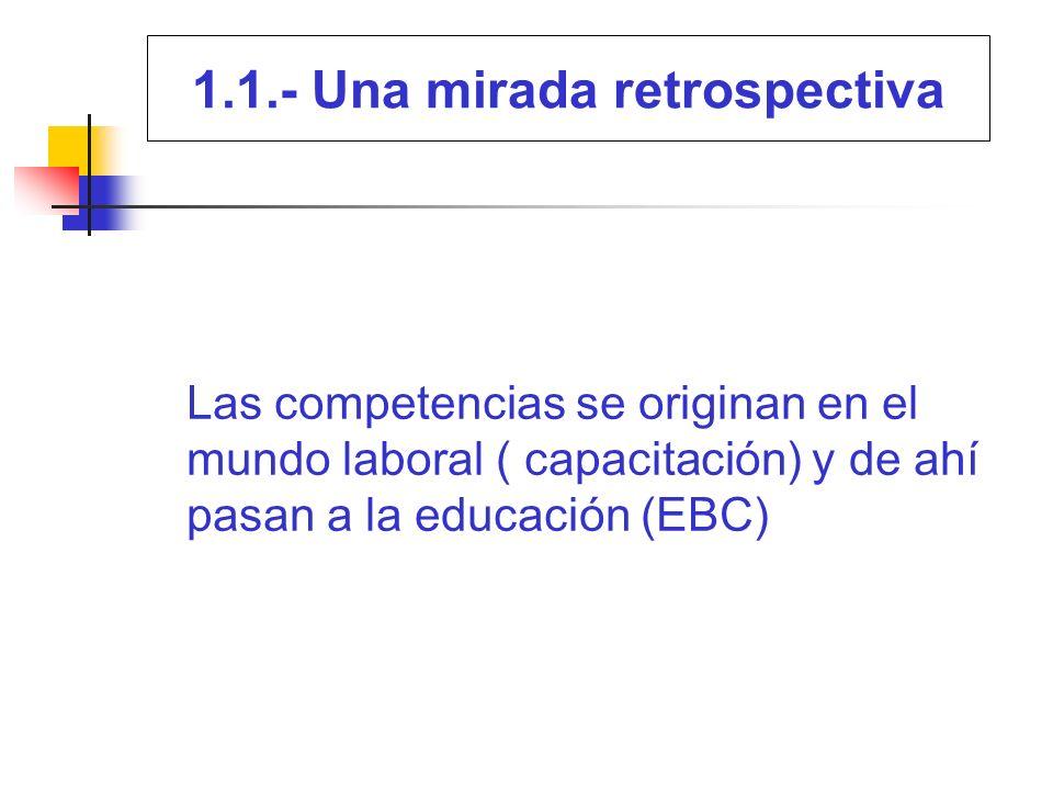 1.1.- Una mirada retrospectiva Historia sobre la EBC (1) Su origen se remonta a fines del siglo XIX en cursos de trabajos manuales para niños.