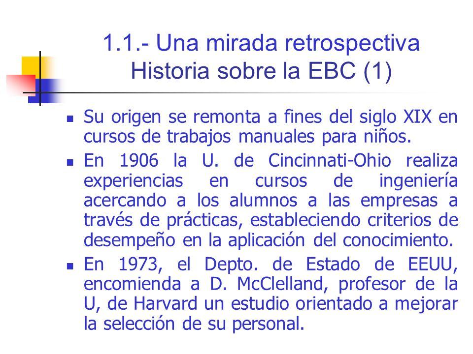 1.1.- Una mirada retrospectiva Historia sobre la EBC (2) A partir de la década de los 80, se comienza a aplicar más el concepto de competencias.