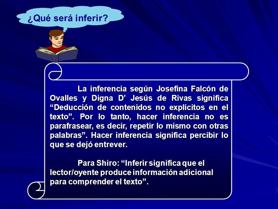 La inferencia según Josefina Falcón de Ovalles y Digna D Jesús de Rivas significa Deducción de contenidos no explícitos en el texto.
