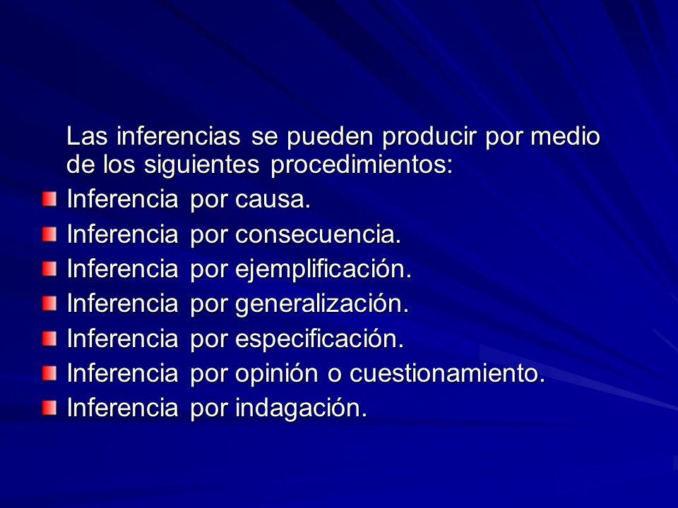 Las inferencias se pueden producir por medio de los siguientes procedimientos: Inferencia por causa.