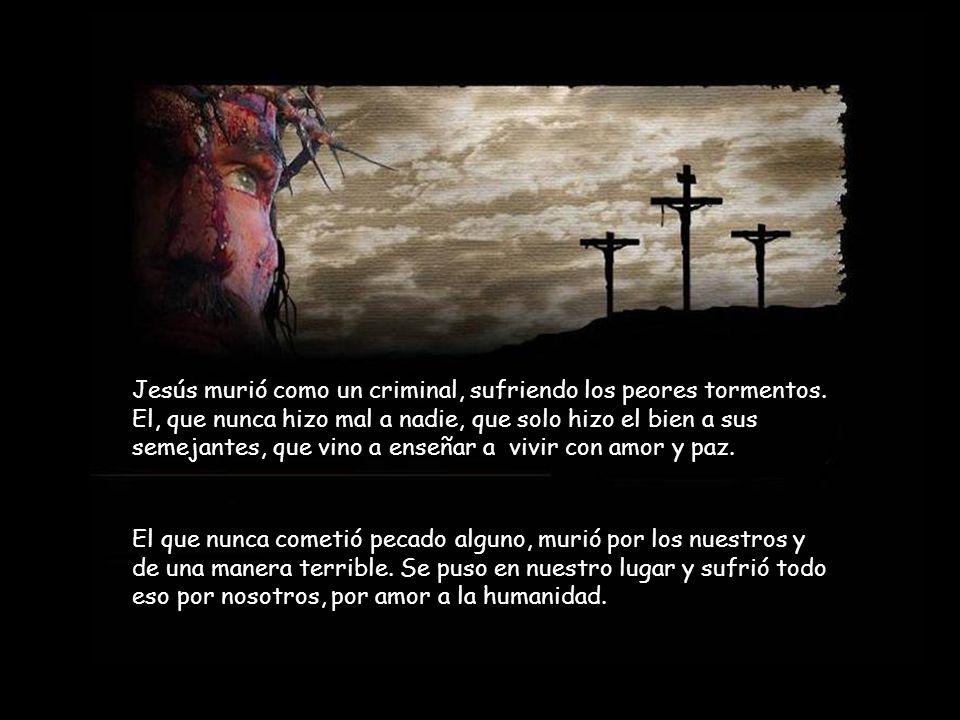 Jesús permaneció solo seis horas en la cruz, así que sus piernas no fueron quebradas. Un soldado romano traspasó su costado y brotó sangre y agua. Méd