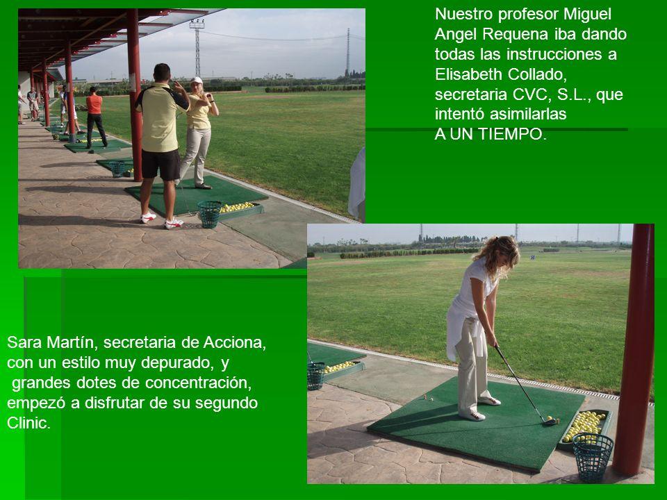 Sonia Sánchez, secretaria de Presidencia de Viajes Gheisa, demostró su voluntad de llegar muy lejos en el golfeo ….deportivamente hablando. Clinic Gol