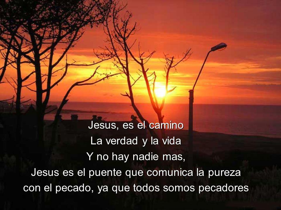 Jesus, es el camino La verdad y la vida Y no hay nadie mas, Jesus es el puente que comunica la pureza con el pecado, ya que todos somos pecadores