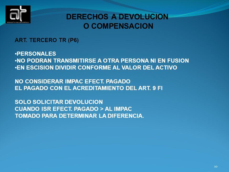 DERECHOS A DEVOLUCION O COMPENSACION ART. TERCERO TR (P6) PERSONALES NO PODRAN TRANSMITIRSE A OTRA PERSONA NI EN FUSION EN ESCISION DIVIDIR CONFORME A