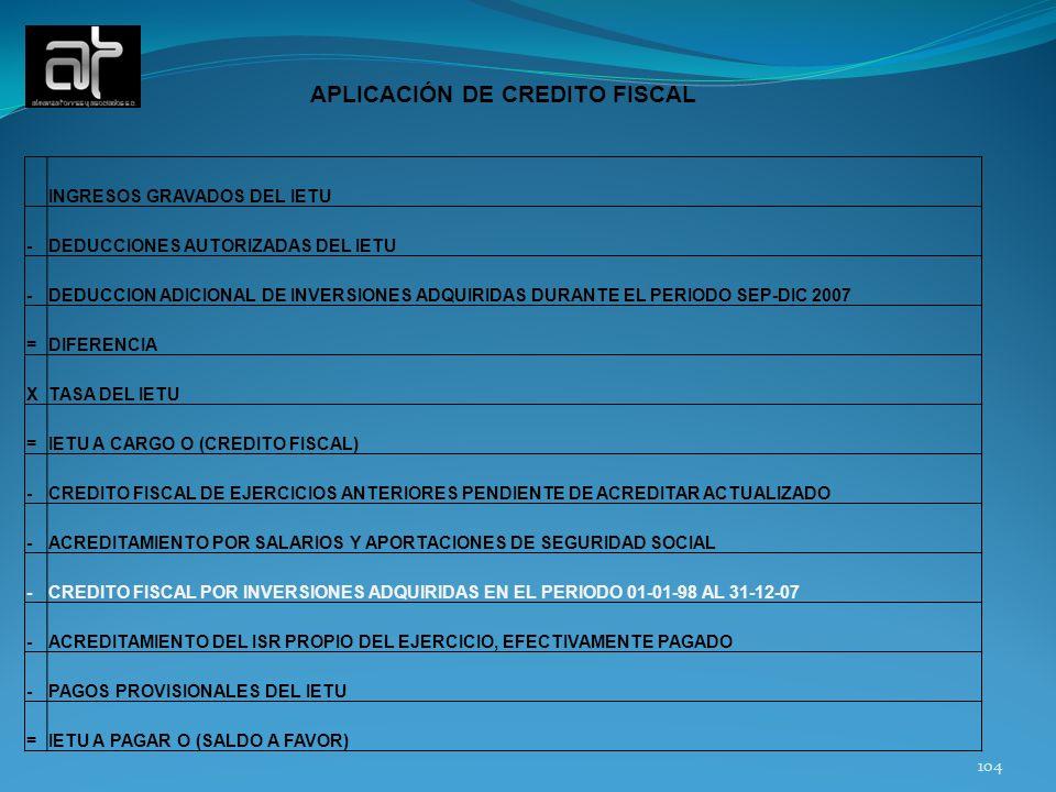 104 APLICACIÓN DE CREDITO FISCAL INGRESOS GRAVADOS DEL IETU -DEDUCCIONES AUTORIZADAS DEL IETU -DEDUCCION ADICIONAL DE INVERSIONES ADQUIRIDAS DURANTE E