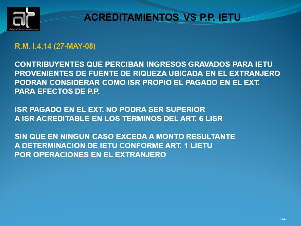 114 ACREDITAMIENTOS VS P.P.IETU R.M.