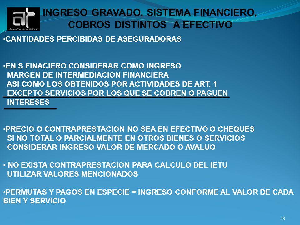 INGRESO GRAVADO, SISTEMA FINANCIERO, COBROS DISTINTOS A EFECTIVO CANTIDADES PERCIBIDAS DE ASEGURADORAS EN S.FINACIERO CONSIDERAR COMO INGRESO MARGEN D