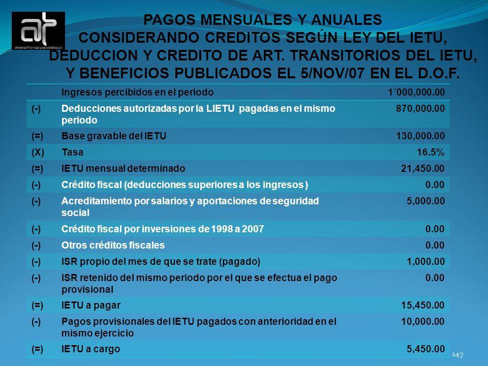 147 Ingresos percibidos en el periodo1´000,000.00 (-)Deducciones autorizadas por la LIETU pagadas en el mismo periodo 870,000.00 (=)Base gravable del