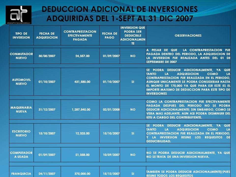 39 DEDUCCION ADICIONAL DE INVERSIONES ADQUIRIDAS DEL 1-SEPT AL 31 DIC 2007 TIPO DE INVERSION FECHA DE ADQUISICION CONTRAPRESTACION EFECTIVAMENTE PAGAD