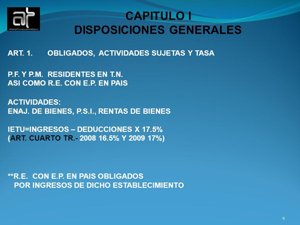 CAPITULO I DISPOSICIONES GENERALES ART. 1. OBLIGADOS, ACTIVIDADES SUJETAS Y TASA P.F. Y P.M. RESIDENTES EN T.N. ASI COMO R.E. CON E.P. EN PAIS ACTIVID