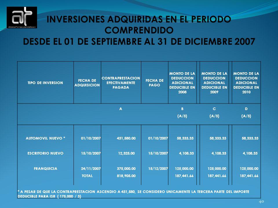 40 INVERSIONES ADQUIRIDAS EN EL PERIODO COMPRENDIDO DESDE EL 01 DE SEPTIEMBRE AL 31 DE DICIEMBRE 2007 TIPO DE INVERSION FECHA DE ADQUISICION CONTRAPRE