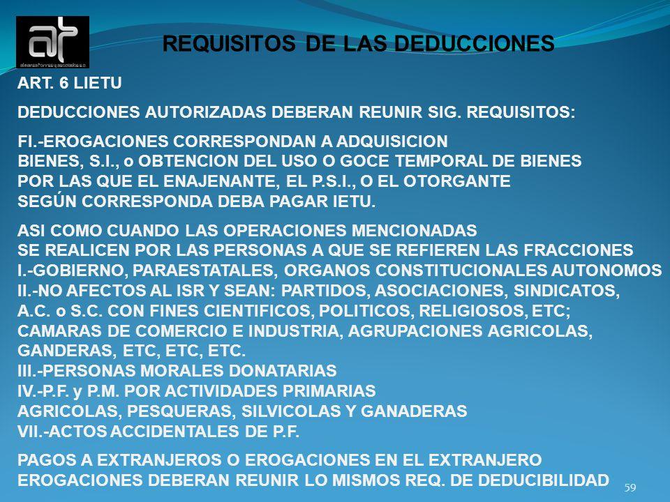 59 REQUISITOS DE LAS DEDUCCIONES ART. 6 LIETU DEDUCCIONES AUTORIZADAS DEBERAN REUNIR SIG. REQUISITOS: FI.-EROGACIONES CORRESPONDAN A ADQUISICION BIENE
