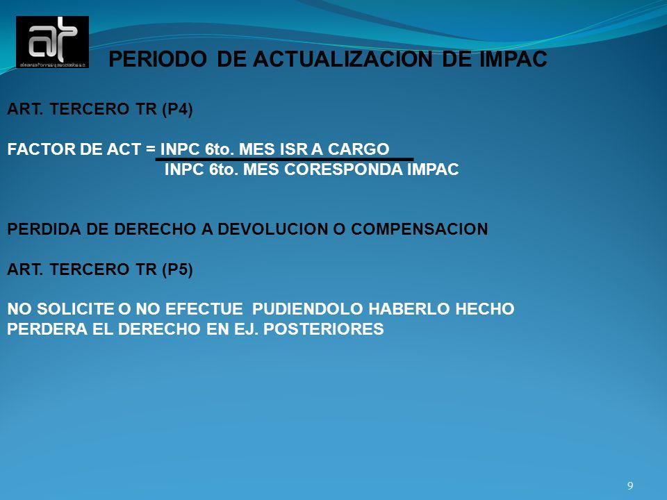 PERIODO DE ACTUALIZACION DE IMPAC ART. TERCERO TR (P4) FACTOR DE ACT = INPC 6to. MES ISR A CARGO INPC 6to. MES CORESPONDA IMPAC PERDIDA DE DERECHO A D