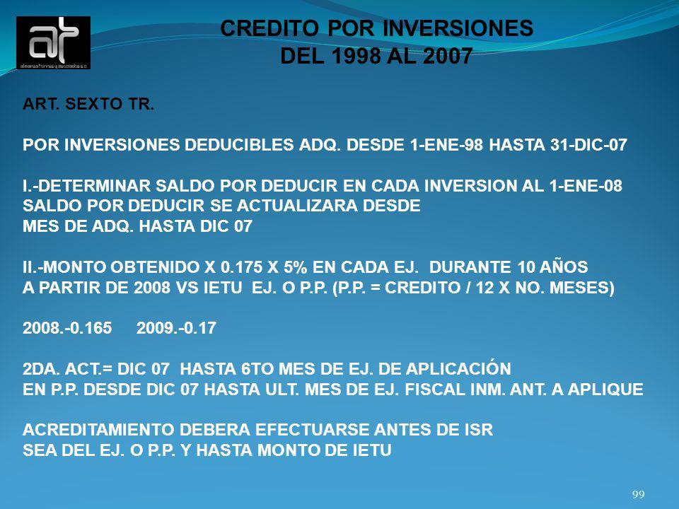 99 CREDITO POR INVERSIONES DEL 1998 AL 2007 ART. SEXTO TR. POR INVERSIONES DEDUCIBLES ADQ. DESDE 1-ENE-98 HASTA 31-DIC-07 I.-DETERMINAR SALDO POR DEDU