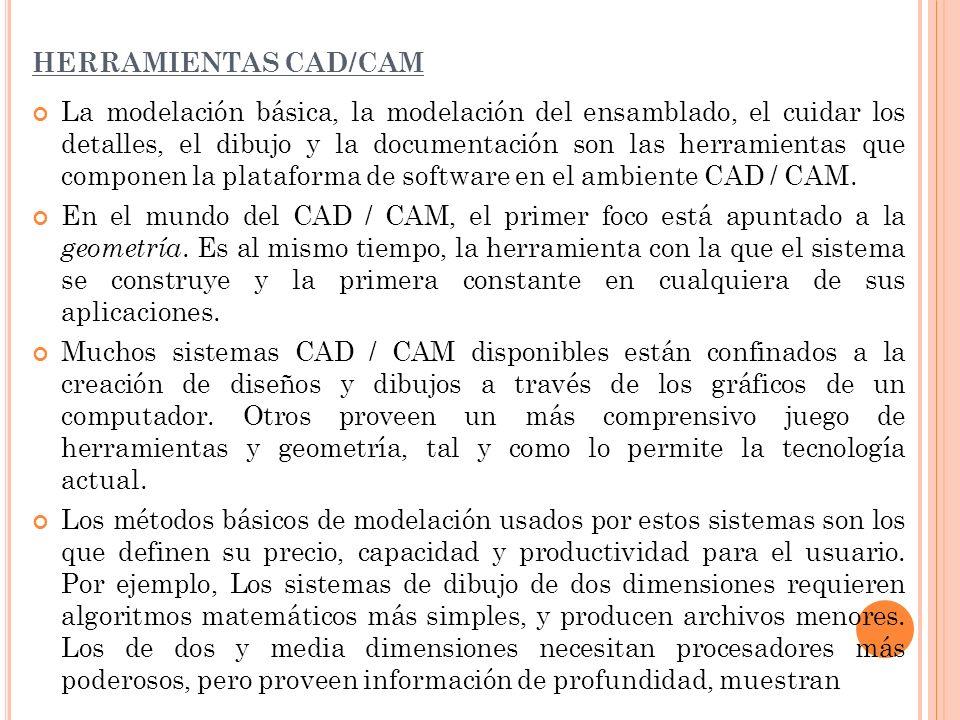 HERRAMIENTAS CAD/CAM La modelación básica, la modelación del ensamblado, el cuidar los detalles, el dibujo y la documentación son las herramientas que