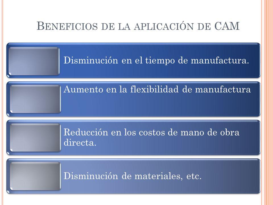 B ENEFICIOS DE LA APLICACIÓN DE CAM Disminución en el tiempo de manufactura. Aumento en la flexibilidad de manufactura Reducción en los costos de mano