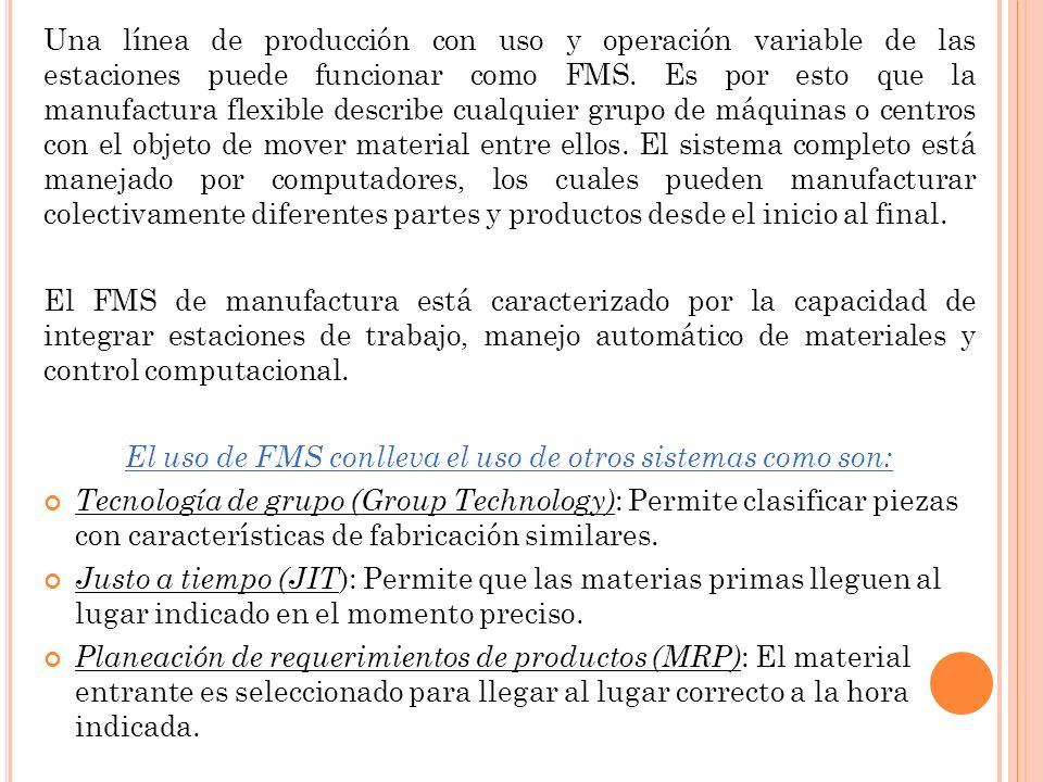 Una línea de producción con uso y operación variable de las estaciones puede funcionar como FMS. Es por esto que la manufactura flexible describe cual