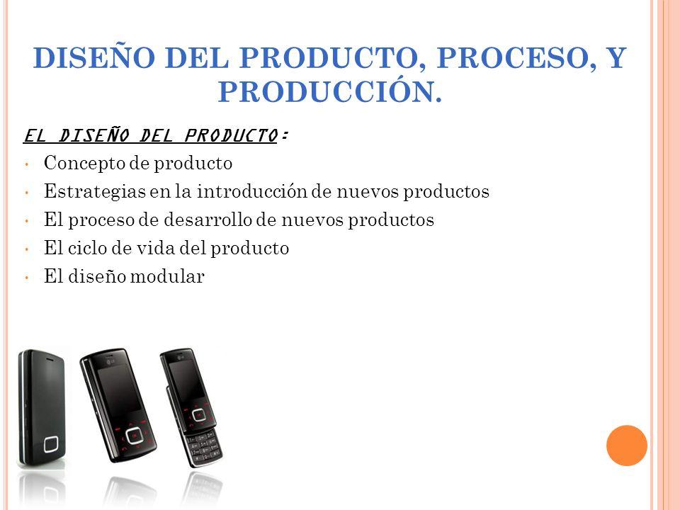DISEÑO DEL PRODUCTO, PROCESO, Y PRODUCCIÓN. EL DISEÑO DEL PRODUCTO: Concepto de producto Estrategias en la introducción de nuevos productos El proceso
