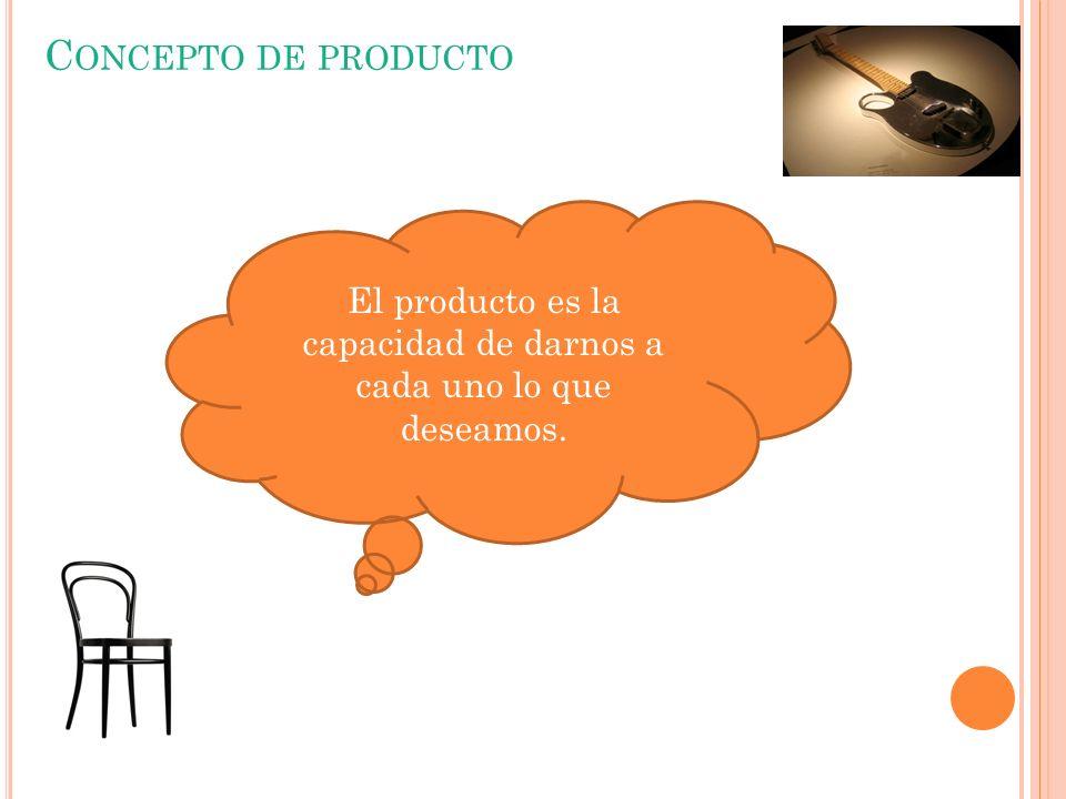 C ONCEPTO DE PRODUCTO El producto es la capacidad de darnos a cada uno lo que deseamos.