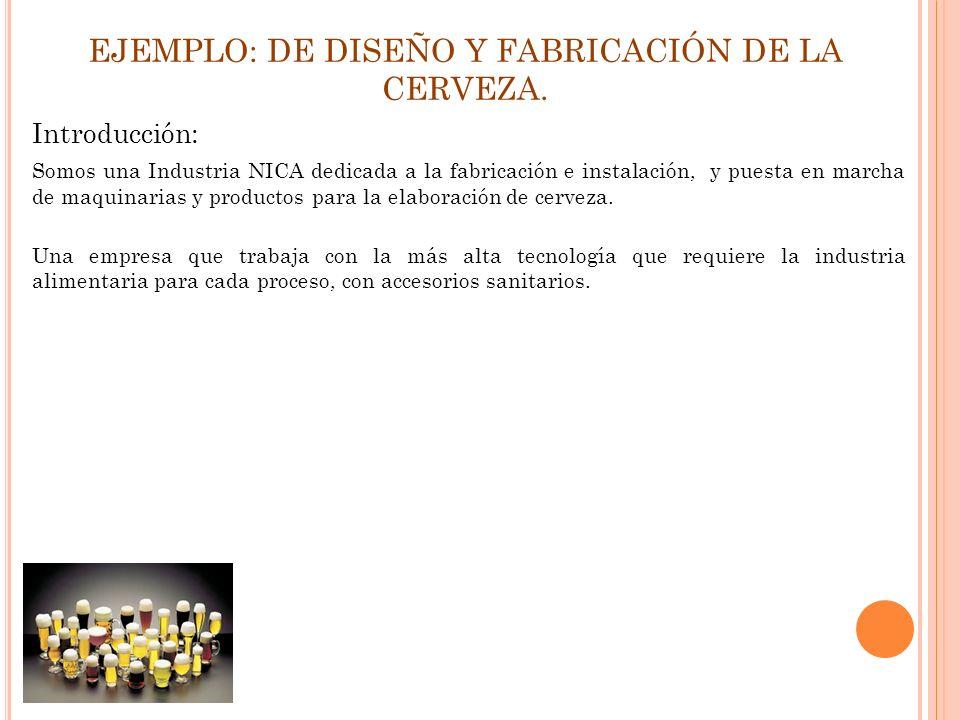 EJEMPLO: DE DISEÑO Y FABRICACIÓN DE LA CERVEZA. Introducción: Somos una Industria NICA dedicada a la fabricación e instalación, y puesta en marcha de