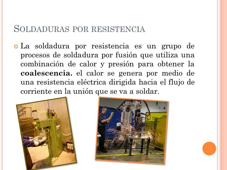 SOLDADURA DE COSTURAS POR RESISTENCIA En este tipo de soldadura por resistencia, los electrodos se cambian las varillas de electrodos, por ruedas giratorias y se hace una serie de puntos de soldadura sobre la unión.