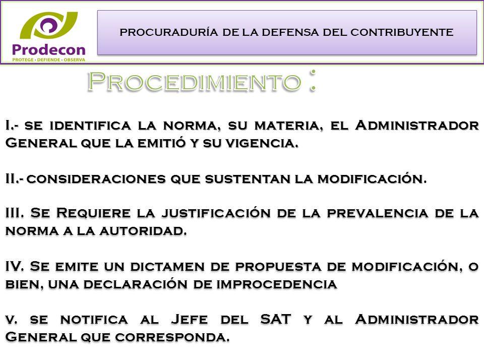 PROCURADURÍA DE LA DEFENSA DEL CONTRIBUYENTE I.- se identifica la norma, su materia, el Administrador General que la emitió y su vigencia.