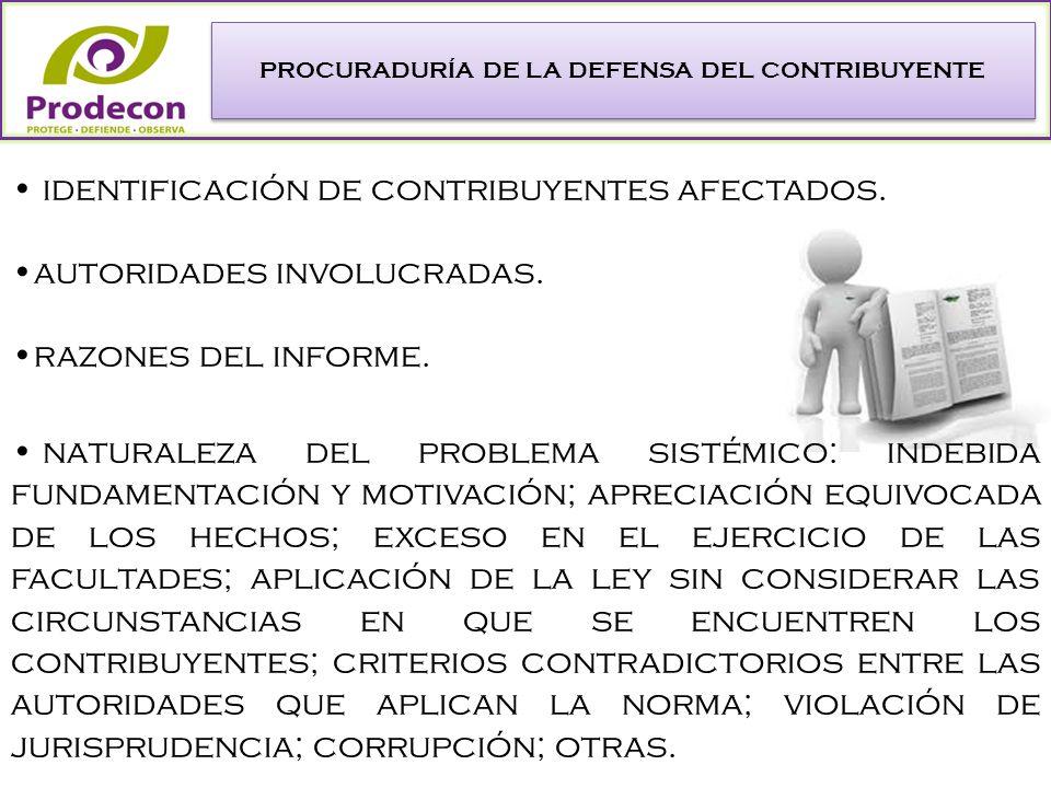 PROCURADURÍA DE LA DEFENSA DEL CONTRIBUYENTE identificación de contribuyentes afectados.