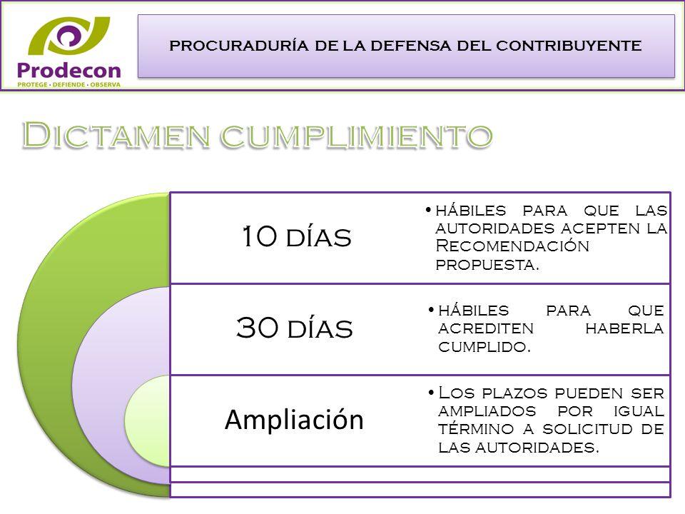PROCURADURÍA DE LA DEFENSA DEL CONTRIBUYENTE 10 días 30 días Ampliación hábiles para que las autoridades acepten la Recomendación propuesta.
